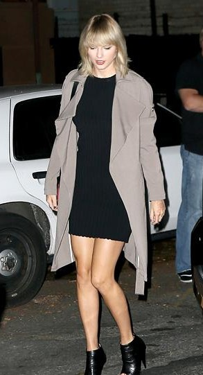 taylor swift black bodycon dress and grey long jacket from look what you made me do - SeenIt