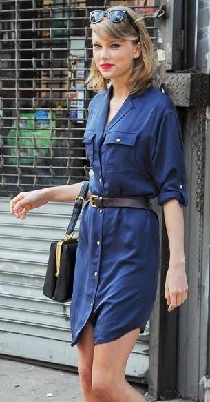 e0a51b05be42 taylor swift chic navy blue shirt dress new york - SeenIt