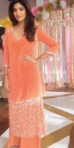 Shilpa Shetty's Orange Peach Embellished Suit - SeenIt