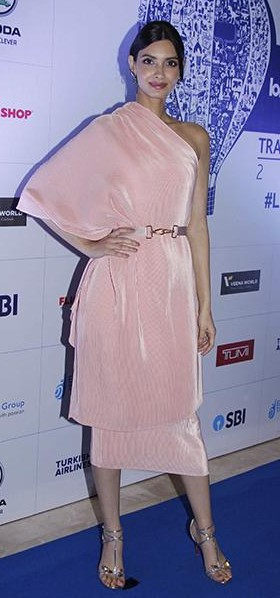 Yay or Nay? Diana Penty in this light pink oneshoulder midi dress - SeenIt