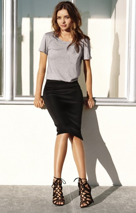 Where can i find everything Miranda's wearing ? the basic tee with a black pencil skirt - SeenIt