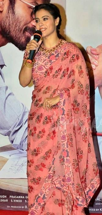 Kajol's pink floral saree that she wore during the promotion of her movie VIP2 - SeenIt