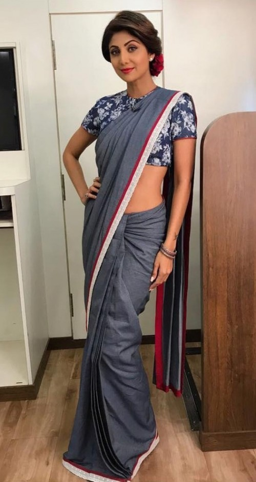 Yay or Nay? Shilpa Shetty in this denim saree - SeenIt