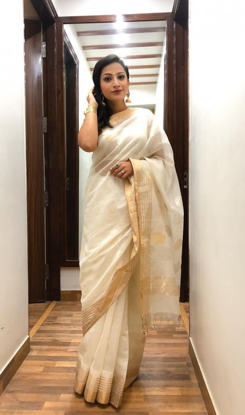 This white saree with golden border as seen in i speak what you love - SeenIt