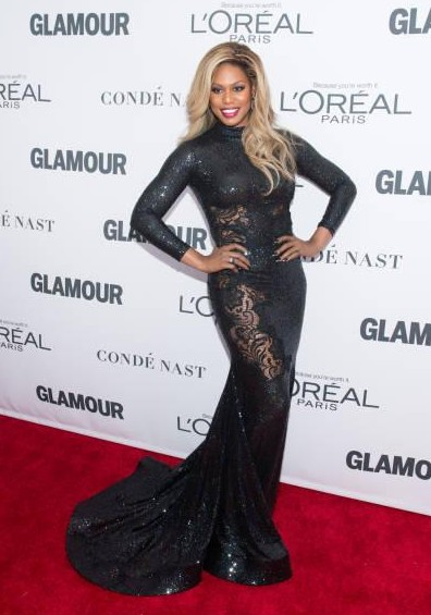 Yay or Nay? : Laverne Cox attends the 2017 Glamour Women of The Year Awards wearing a black shimmer trail gown - SeenIt