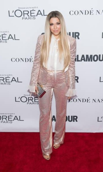 Yay or Nay? Rachel Platten attends the 2017 Glamour Women of The Year Awards wearing a pastel pink shimmer pant suit - SeenIt