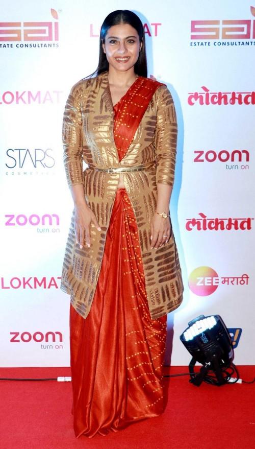 Yay or Nay? Kajol wearing an orange and gold saree at the LOKMAT awards night 2017 - SeenIt