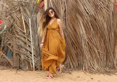 Looking for exact same brown maxi backless dress thatbohogirl wore on her goa trip - SeenIt