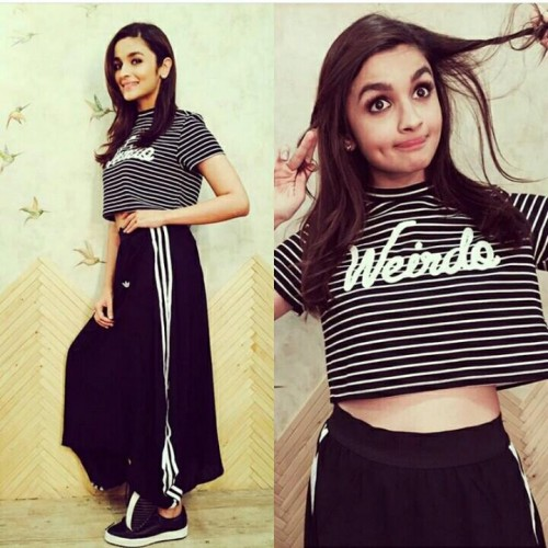 Alia Bhatt striped croptop and black pants which she wore for shaandar promotions - SeenIt