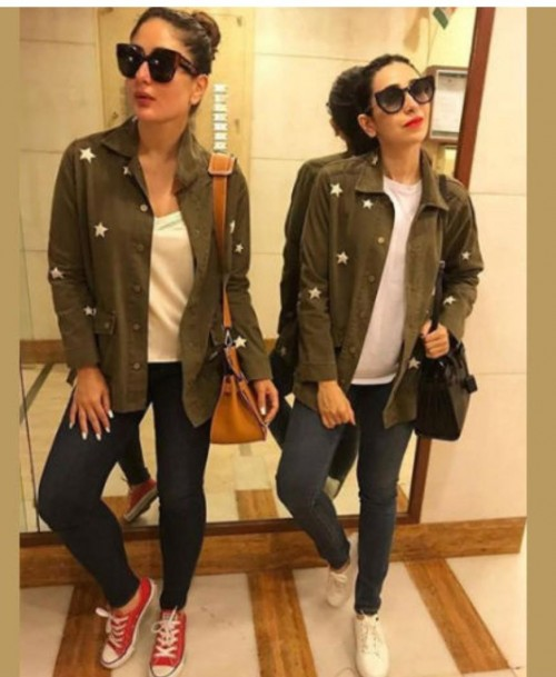 Kareena Kapoor's olive green printed jacket - SeenIt