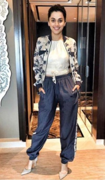 Taapsee Pannu's floral bomber jacket - SeenIt