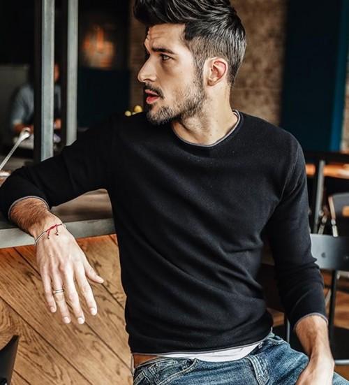 similar black slim fit Men's Pullover or Sweater. - SeenIt