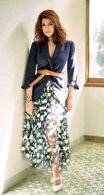 Yay or Nay? Twinkle Khanna in this sheer white floral midi dress with navy blue jacket and brown belt - SeenIt