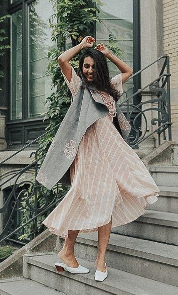 This peach striped midi dress as seen in missstylefiesta (The dress can be of any colour) - SeenIt