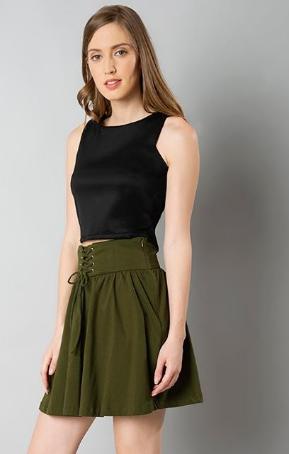 Black croptop and Olive green mini skirt - SeenIt