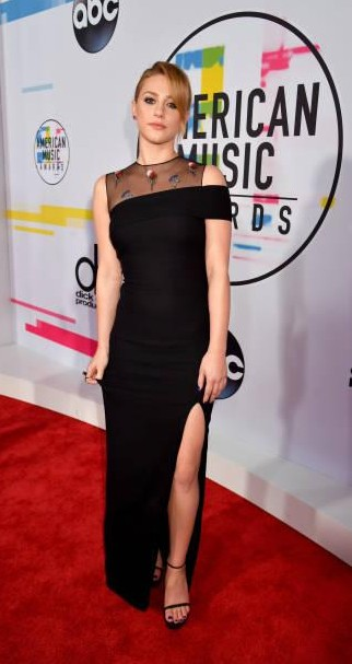 Yay or Nay? Lili Reinhart attends the 2017 American Music Awards wearing a black velvet slit gown - SeenIt