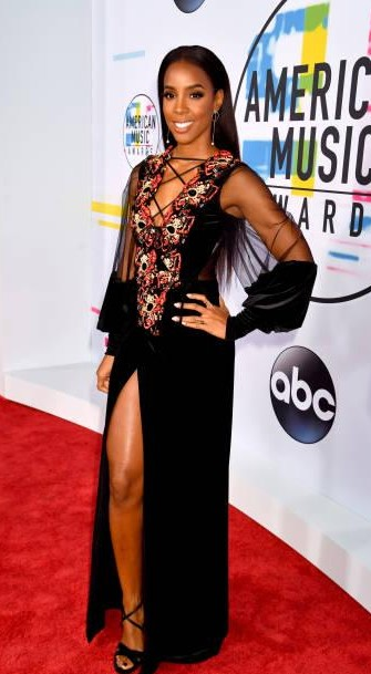 Yay or Nay?  Kelly Rowland attends the 2017 American Music Awards wearing a black velvet front slit gown - SeenIt