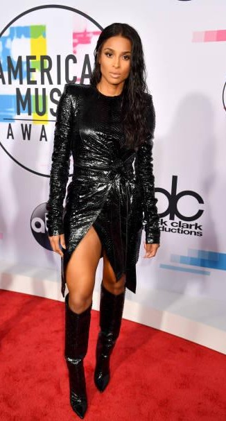 Yay or Nay? Ciara attends the 2017 American Music Awards wearing a black leather dress and boots - SeenIt