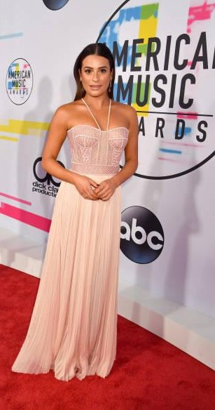 Yay or Nay?  Lea Michele attends the 2017 American Music Awards wearing a peach halter gown - SeenIt