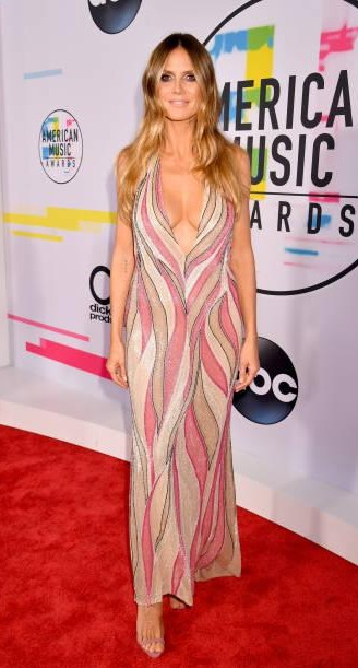 Yay or Nay? Heidi Klum attends the 2017 American Music Awards wearing a pink and beige plunge neck gown - SeenIt