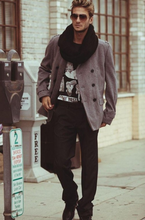Black infinity scarf, grey coat, and black jeans which he's wearing - SeenIt