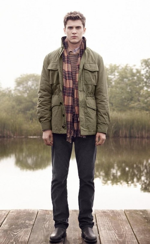 Olive green jacket, plaid scarf and black jeans - SeenIt