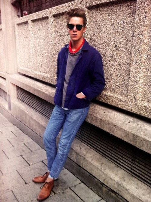Blue shirt, red scarf, blue jeans and brown formal shoes - SeenIt