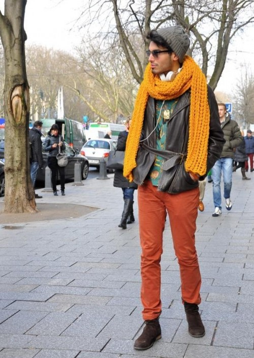 Mustard knit scarf, black biker jacket and orange chinos - SeenIt
