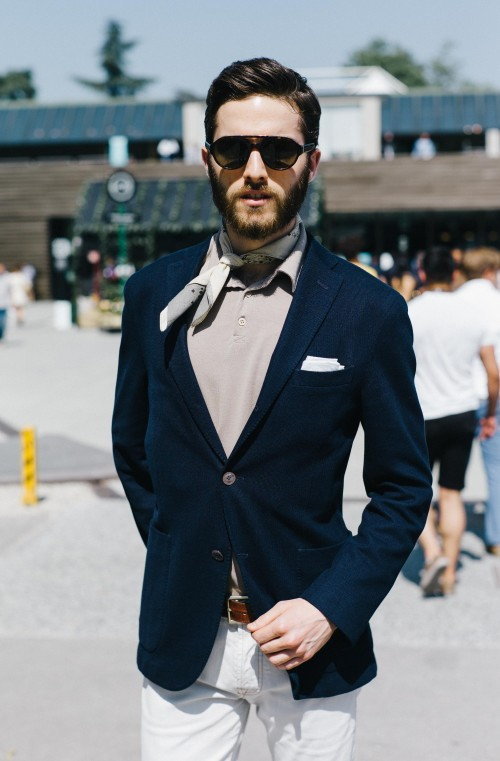 Navy blazer and grey scarf - SeenIt
