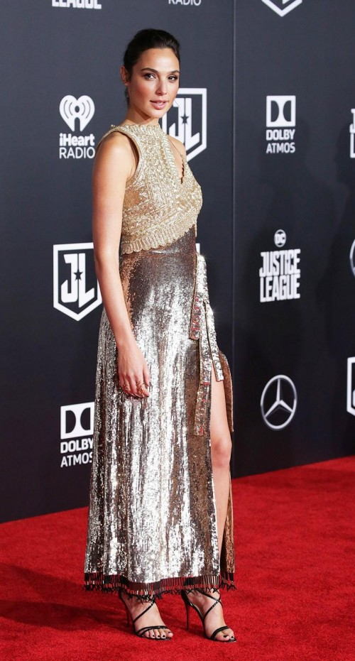 Yay or Nay? Gal Gadot in gold silver shimmer front slit gown at the movie premiere of Justice league - SeenIt