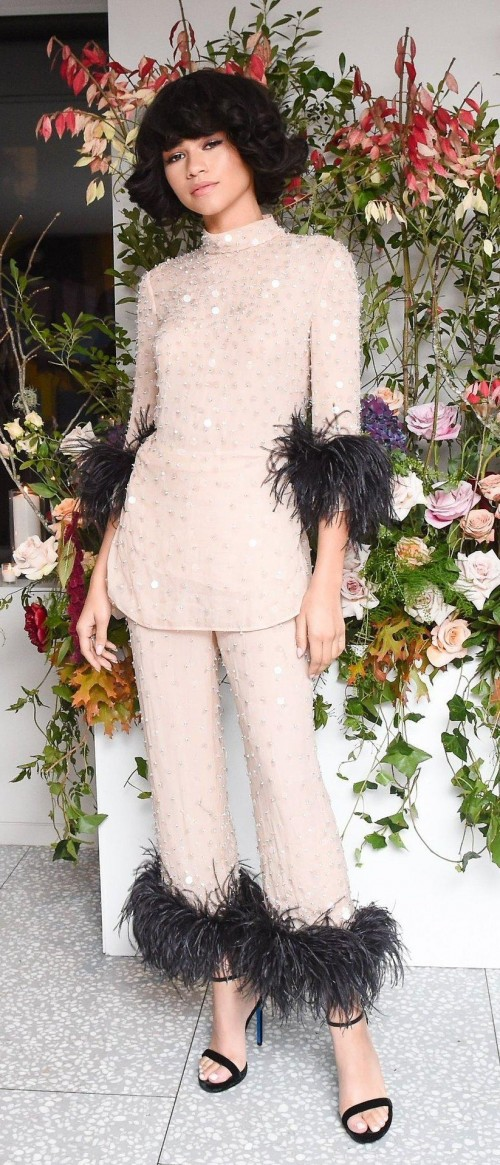 Yay or Nay? Zendaya wearing peach sequin and fur coords at Glamour Women of the Year in New York - SeenIt