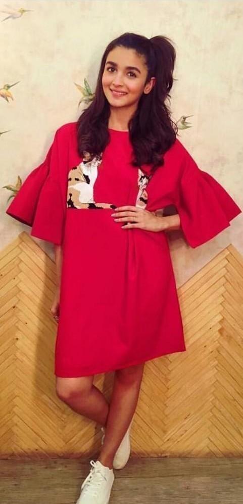 4ba2b5a4e7 Alia Bhatt red bell sleeve dress - SeenIt