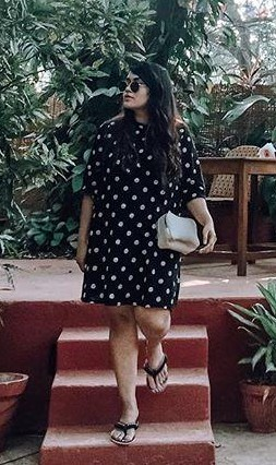 This black polka-dots dress that is seen in Giasaysthat - SeenIt