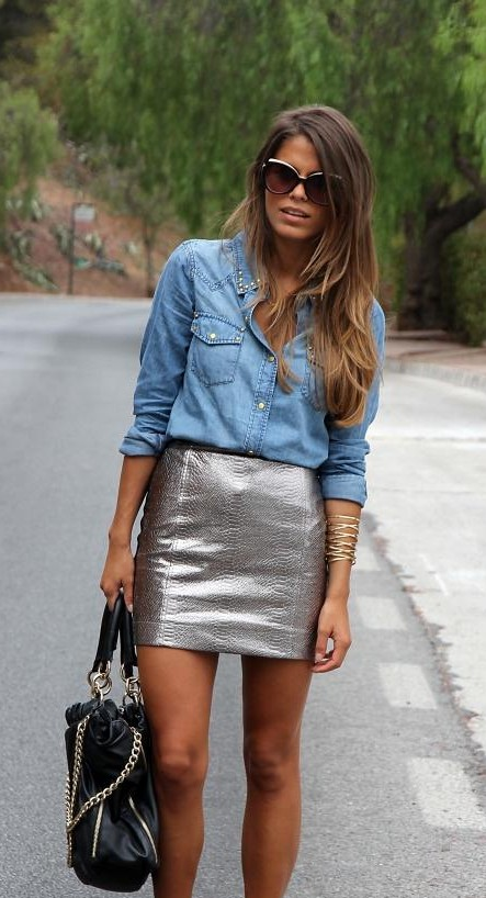 This blue denim shirt and silver leather skirt - SeenIt