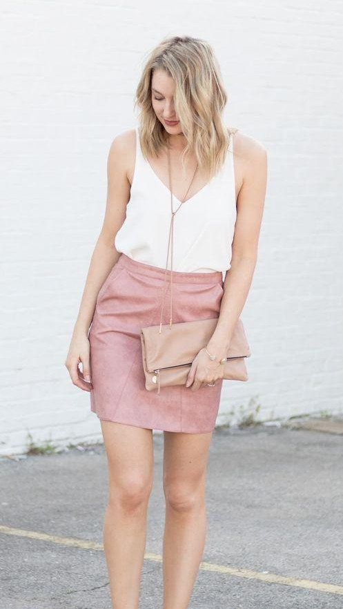 This white top and pink leather miniskirt - SeenIt