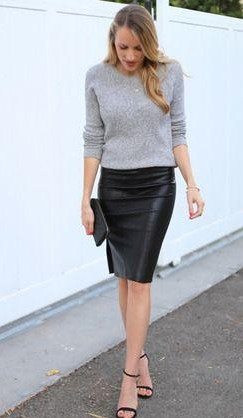 This grey sweatshirt and black leather pencil skirt - SeenIt