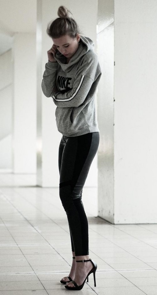 Similar grey sweatshirt, black leather leggings and black anklestraps - SeenIt