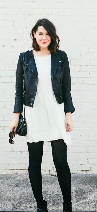 This black leather biker jacket, white dress, black leather leggings - SeenIt