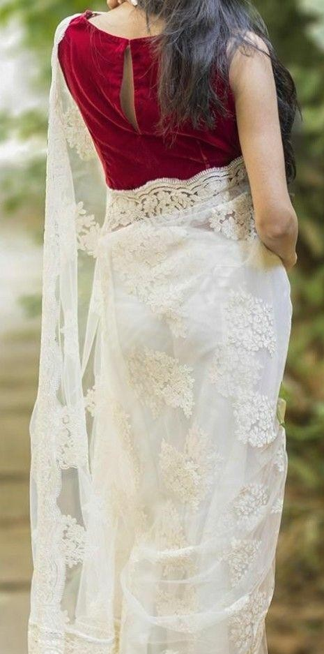 same white saree and red blouse as in the pic - SeenIt