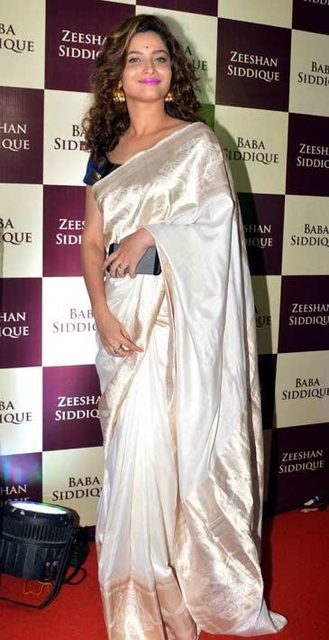 same white saree as worn by Ankita Lokhande in the pic - SeenIt