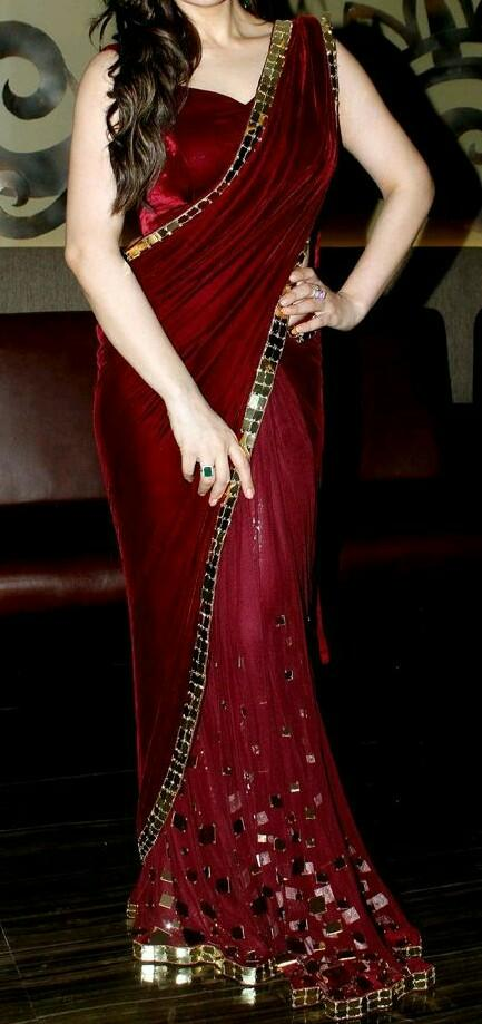 same red velvet saree  with blouse as in the pic - SeenIt