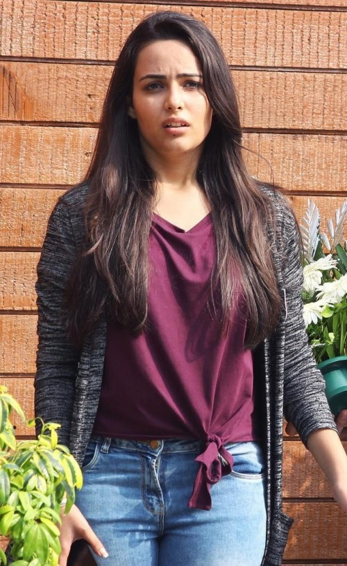 Similar plum top, grey shrug that Aanchal Munjal is wearing - SeenIt