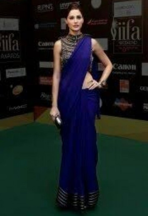 Where do I find similar purple saree with high neck blouse ? - SeenIt
