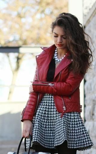 This maroon biker jacket and white houndstooth skater skirt - SeenIt
