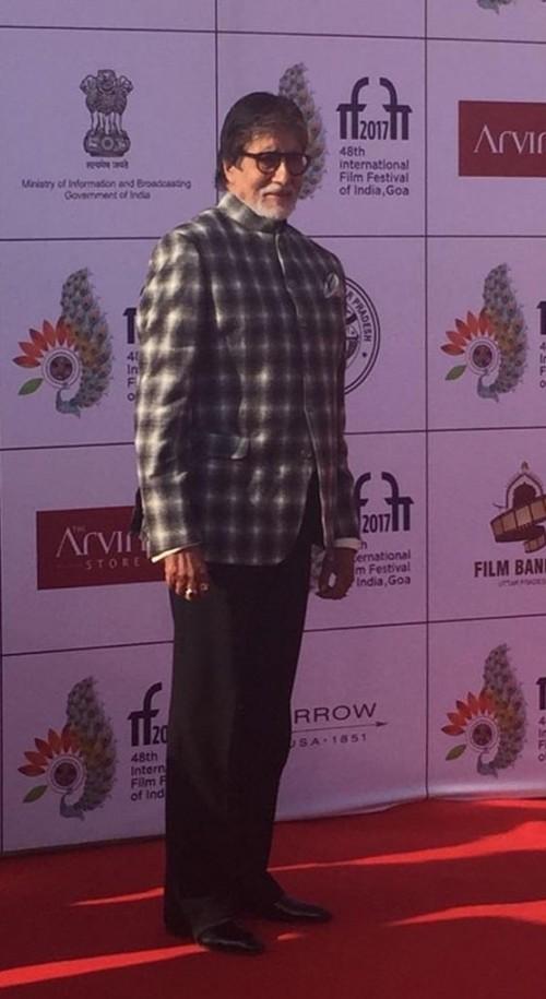 Yay or Nay? Amitabh Bachchan wearing a checkered bandhgala blazer at the IFFI Goa 2017 - SeenIt