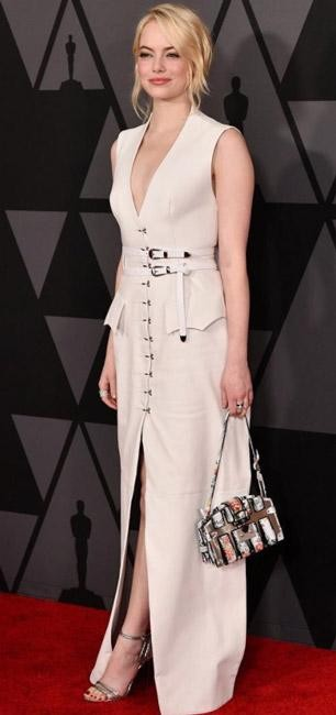 Yay or Nay? Emma Stone in this white button-down maxidress - SeenIt