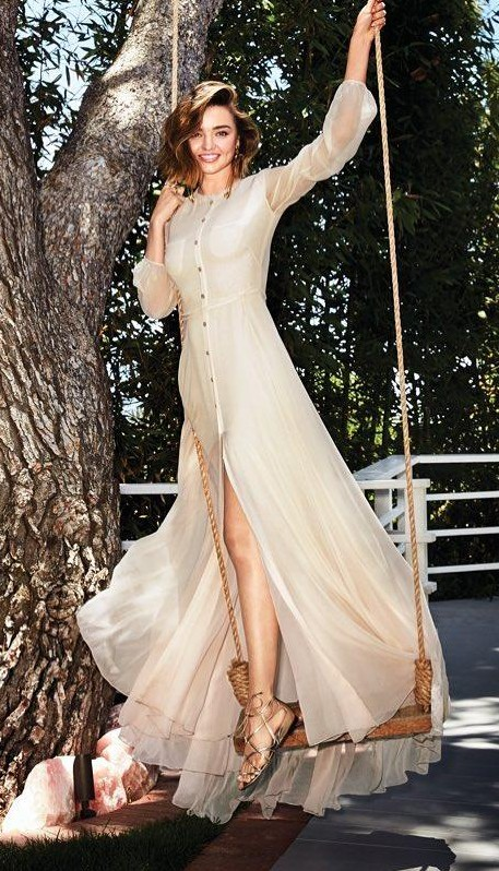 Yay or Nay? Miranda Kerr in this white Button-down maxi dress - SeenIt