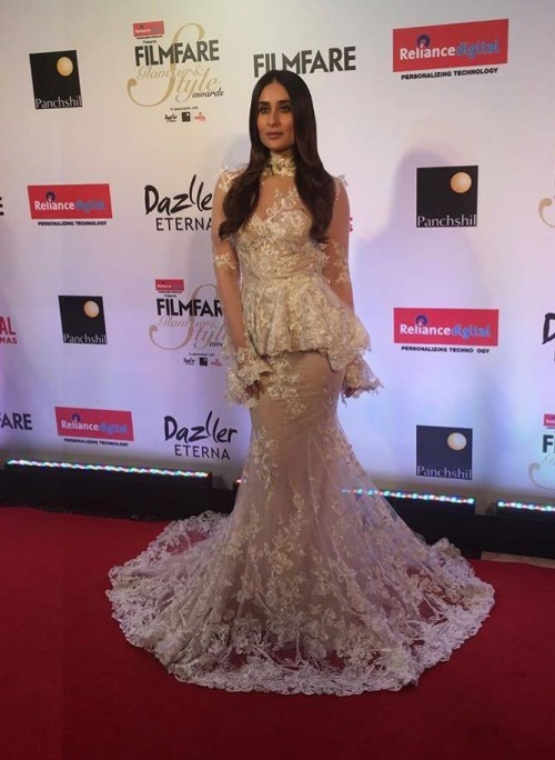 Yay or Nay? Kareena Kapoor wearing an ivory peplum lace mesh gown at the Filmfare glamour and style awards 2017 - SeenIt