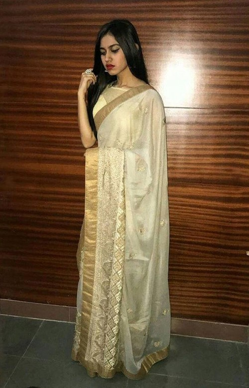 Looking g for similar cream saree with golden border - SeenIt