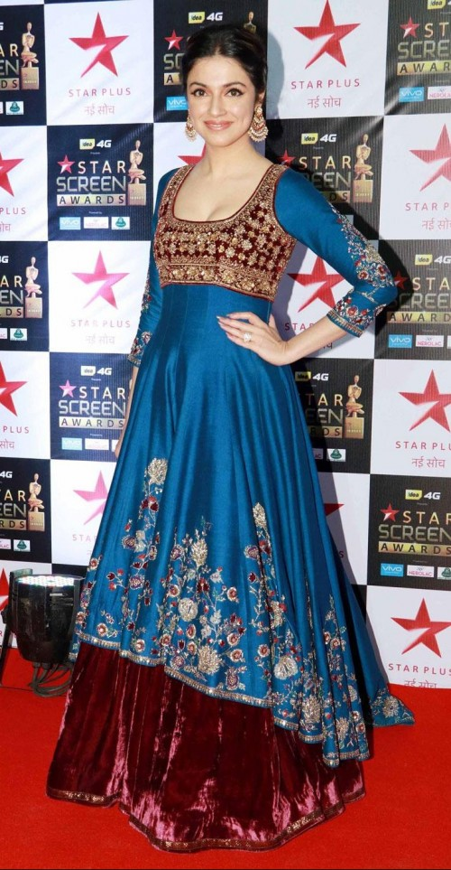Yay or Nay? Divya Khosla wearing a blue embroidered velvet anarkali attire at the Star screen awards 2017 - SeenIt